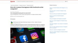 How to connect Instagram with Facebook on the computer - Quora