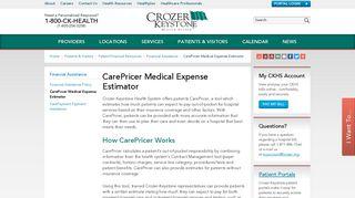 CarePricer Medical Expense Estimator - Crozer-Keystone Health System