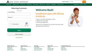 Returning Customer Login - ACE Cash Express