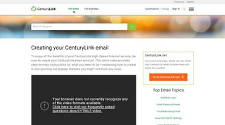 Setting up your CenturyLink email   CenturyLink