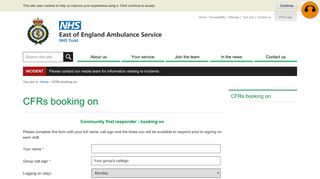 CFR Booking on - East of England Ambulance Service