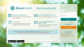 MyAtriumHealth - Login Page