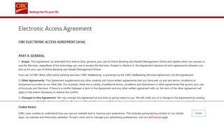 Electronic Access Agreement | CIBC