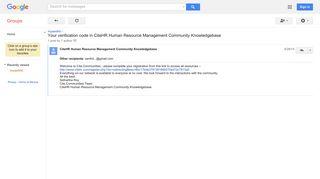 Your verification code in CiteHR Human Resource Management ...