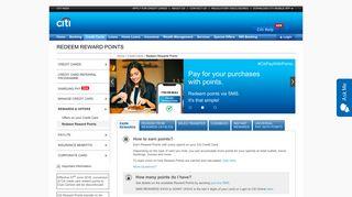 Redeem Reward Points - Citibank
