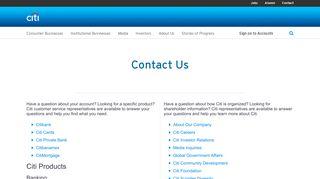 Citi | Contact Us - Citigroup