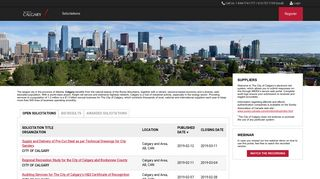 City of Calgary - List of Open Solicitations