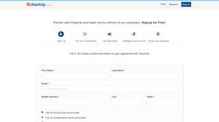 Sign Up - Cleartrip