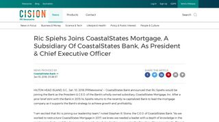 Ric Spiehs Joins CoastalStates Mortgage, A Subsidiary Of ...