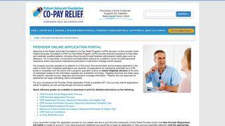 Provider Online Application Portal   COPAYS.ORG