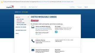 Costco Cardholder Contact Information | Capital One Canada