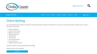 Online Banking - Delta County Credit Union