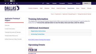 Application Training & Support / Training Information ... - Dallas ISD