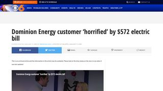 Dominion Energy customer 'horrified' by $572 electric bill   WTVR.com