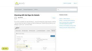 Checking Gift Aid Sign On Details – Donorfy Support