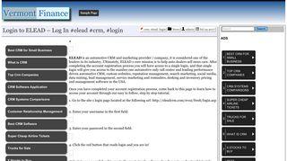 Login to ELEAD – Log In #elead #crm, #login – Vermont Finance