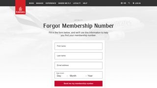 Forgot Membership Number | Login | Emirates United Kingdom