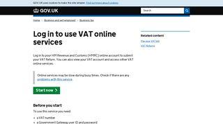 Log in to use VAT online services - GOV.UK