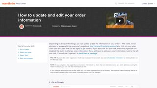How to update and edit your order information | Eventbrite Help Center