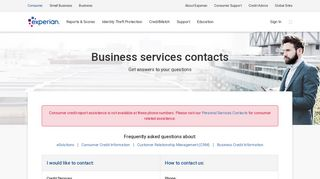Business Services Contacts at Experian.com