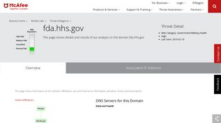webmail.fda.hhs.gov - Domain - McAfee Labs Threat Center