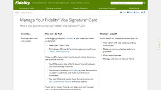 Manage Your Fidelity Visa Signature Card - Fidelity Investments