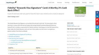 Fidelity® Rewards Visa Signature® Card: A Worthy 2% Cash Back ...