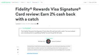Fidelity Rewards Visa Signature Card review   Credit Karma