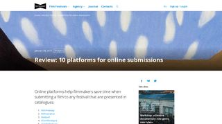 Review: 10 platforms for online submissions - Festagent