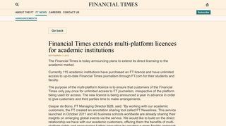 Financial Times extends multi-platform licences for academic institutions