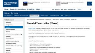 Financial Times online (FT.com) | Administration and support services ...