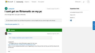 i cant get on flirtomatic on my pc - Microsoft Community