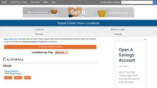 Nobel Credit Union Locations of 9 Branch Offices - Credit Unions Online