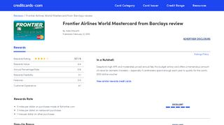 Frontier Airlines World Mastercard (Barclays) Review - CreditCards.com