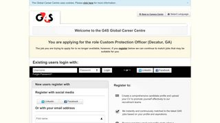 Existing users login with - Welcome to the G4S Career Center ...