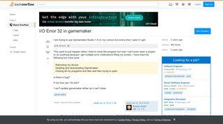 I/O Error 32 in gamemaker - Stack Overflow