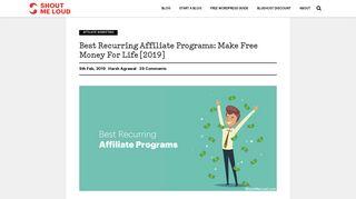 Best Recurring Affiliate Programs: Make Free Money For Life [2019]