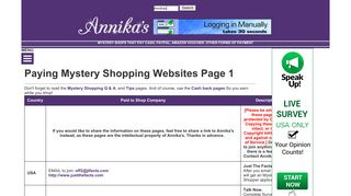 Annika's - Paying Mystery Shopping Page 1