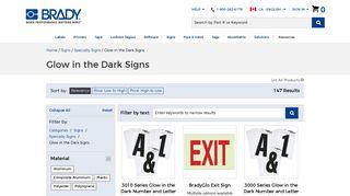 Brady Glow in the Dark Signs   BradyCanada.ca