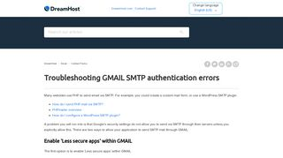 Troubleshooting GMAIL SMTP authentication errors – DreamHost