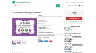 Go Noodle Student Login *FREEBIE* by Teaching in QLD | TpT