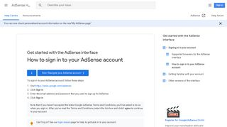 How to sign in to your AdSense account - Google Support
