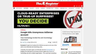 Google kills Anonymous AdSense account • The Register
