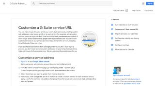 Customize a G Suite service URL - G Suite Admin Help - Google Support