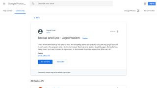 Backup and Sync - Login Problem - Google Photos Help - Google Support
