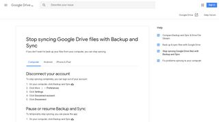 Stop syncing Google Drive files with Backup and Sync - Computer ...