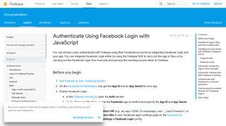 Authenticate Using Facebook Login with JavaScript | Firebase - Google