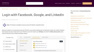 Login with Facebook, Google, and LinkedIn : Thinkific