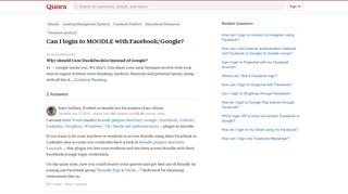 Can I login to MOODLE with Facebook/Google? - Quora