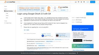 Login using Google OAuth 2.0 with C# - Stack Overflow